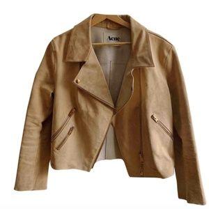 Acne Leather Suede Biker Jacket Sz 38